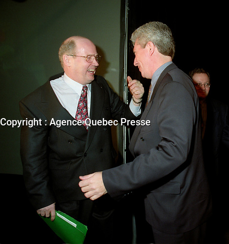 Montreal (Qc) CANADA -Feb 17 1996 File Photo-<br /> <br /> Michel Gauthier  got elected as leader of the BLOC QUEBCOIS, February 17, 1996. Later he will be replaced dy Gilles Duceppe.(R)