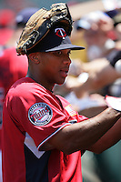 Ben Revere of the Minnesota Twins organization participates in the Futures Game at Angel Stadium in Anaheim,California on July 11, 2010. Photo by Larry Goren/Four Seam Images