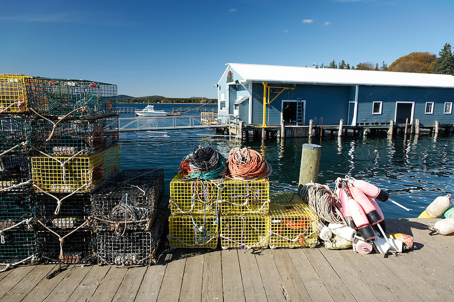 Lobster traps and colorful buoys on Town Dock, Isleford, Maine