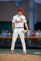 Johnson City Cardinals relief pitcher Jacob Sylvester (30) looks in for the sign during a game against the Danville Braves on July 28, 2018 at TVA Credit Union Ballpark in Johnson City, Tennessee.  Danville defeated Johnson City 7-4.  (Mike Janes/Four Seam Images)