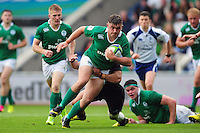 Adam McBurney of Ireland U20 takes on the New Zealand defence. World Rugby U20 Championship match between New Zealand U20 and Ireland U20 on June 11, 2016 at the Manchester City Academy Stadium in Manchester, England. Photo by: Patrick Khachfe / Onside Images
