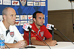 """9 September 2008: US Men's soccer head coach Bob Bradley (USA) (left) and player Landon Donovan (USA) (right). US Soccer held a press conference in preparation for their semifinal round World Cup Qualifying match against Trinidad and Tobago.  The press conference was held at """"Soccer House"""", the US Soccer offices in Chicago, Illinois."""