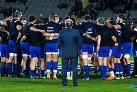 France head coach Jacques Brunel watches his players huddle before the Steinlager Series international rugby match between the New Zealand All Blacks and France at Eden Park in Auckland, New Zealand on Saturday, 9 June 2018. Photo: Dave Lintott / lintottphoto.co.nz