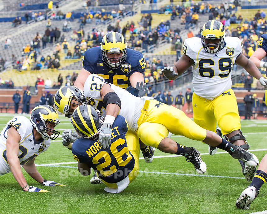 The University of Michigan football team played its annual Spring Game at Michigan Stadium in Ann Arbor, Mich., on April 13, 2013.