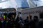 Protesters calling on Chicago Mayor Rahm Emanuel to resign in front of City Hall in the Loop in Chicago, Illinois on December 9, 2015.  Emanuel offered a historic apology for the police killing of Laquan McDonald and police brutality and racial profiling generally -- without using those words -- in front of the City Council in the morning.