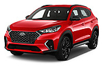 2019 Hyundai Tucson N-Line 5 Door SUV angular front stock photos of front three quarter view