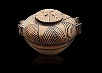 Cycladic ceramic spherical pyxis with painted linear decoration. Cycladic II (2800-2300 BC) , Chalandriani, Syros. National Archaeological Museum Athens. Cat no 5170.  Black background.