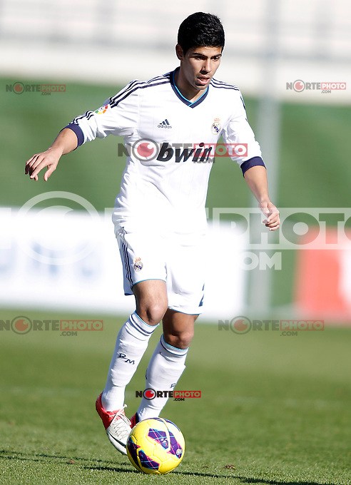 Real Madrid Castilla's Juanfran Moreno during La Liga match. January 13, 2013. (ALTERPHOTOS/Alvaro Hernandez)