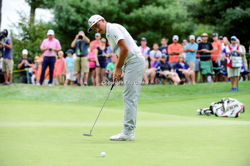 Saturday, September 3, 2016:  Rickie Fowler putts on the on the fifth green during the second round of the Deutsche Bank Championship tournament held at the Tournament Players Club, in Norton, Massachusetts.  Eric Canha/Cal Sport Media