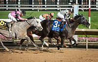 WILMINGTON, DE - JULY 8: It Tiz Well #3, ridden by Drayden Van Dyke, wins the G3 Delaware Oaks at Delaware Park in Wilmington, Delaware. (Photo by Sophie Shore/Eclipse Sportswire/Getty Images)
