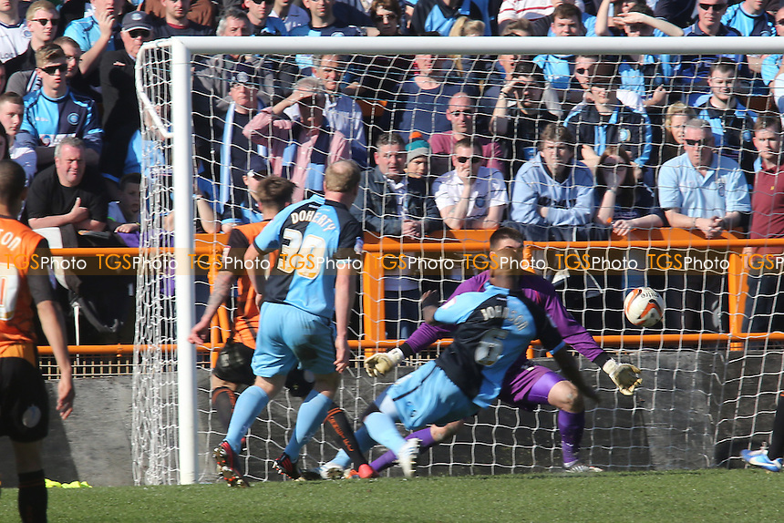 Barnet's Jack Hyde who is partly hidden scores Barnet's goal to secure a valuable three points - Barnet vs Wycombe Wanderers - NPower Division Two Football at Underhill - 20/04/13 - MANDATORY CREDIT: Paul Dennis/TGSPHOTO - Self billing applies where appropriate - 0845 094 6026 - contact@tgsphoto.co.uk - NO UNPAID USE.