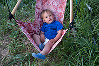 Baby Lawrence on the Bouker's setnet site in the Nushagak River in Bristol Bay in Alaska on July 6, 2019. (Photo by Karen Ducey)