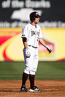 Dylan Becker (27) of the Missouri State Bears leads off of second base during a game against the Southern Illinois University- Edwardsville Cougars at Hammons Field on March 9, 2012 in Springfield, Missouri. (David Welker / Four Seam Images)