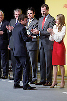 Formula One driver Fernando Alonso shakes hands with Spain's crown Prince Felipe and Princess Letizia during a ceremony to designate Spain Brand ambassadors. February 12, 2013. (ALTERPHOTOS/Alvaro Hernandez) /NortePhoto