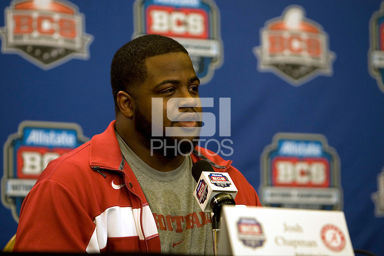 Alabama defensive lineman Josh Chapman talks with the reporters during BCS Championship Alabama Defensive Press Conference at Marriott Hotel at the Convention Center in New Orleans, Louisiana on January 7th, 2012.