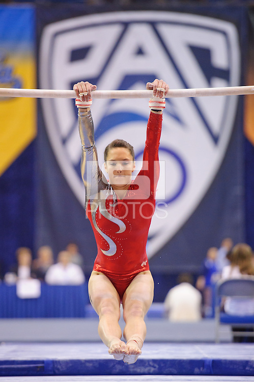 LOS ANGELES, CA - March 19, 2011:  Stanford's Nicole Pechanec competes on the uneven bars during the Pac-10 Championship at UCLA's Pauley Pavilon.   Stanford placed fourth in the competition.