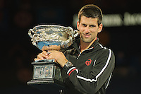MELBOURNE, 30 JANUARY - Novak Djokovic (SRB) with the champion's trophy after winning the men's finals match on day 14 of the 2012 Australian Open at Melbourne Park, Australia. (Photo Sydney Low / syd-low.com)