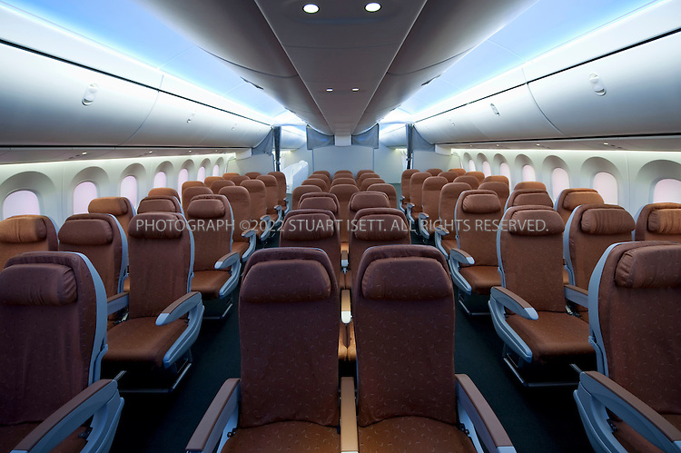 10/23/2009--Renton, WA, USA..Interior cabin mockup of the Boeing 787 Dreamliner at the Boeing Customer Experience Center...©2009 Stuart Isett. All rights reserved.