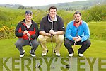 Bart Kane Tralee, Philip O'Connor Kilcummin and David O'Riordan Kilcummin who competed in the Tralee Boxing club golf classic in Castleisland Golf course on Friday..