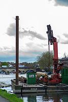 Henley on Thames. United Kingdom.   2018 Henley Royal Regatta, Henley Reach. <br />   <br /> Course Construction: Pilling Barge.<br /> <br /> Wednesday  25/04/2018<br /> <br /> [Mandatory Credit: Peter SPURRIER:Intersport Images]<br /> <br /> Leica Camera AG  LEICA M (Typ 262)  f4.8  1/180sec  mm  25.3MB