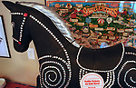 "One of the ""Rockin Around Saugerties"" sculptures- ""Bedazzled"" by artist Mark Smith and Rick Heidemann, seen on displayseen at the Opening Day of the Saugerties Chamber of Commerce's new Saugerties Visitor Center at 117 Partition Street Suite D, Saugerties, NY, on Friday, June 30, 2017. Photo by Jim Peppler. Copyright/Jim Peppler-2017."