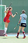 Mannheim, Germany, April 26: During the 1. Bundesliga Herren match between Mannheimer HC (red) and Uhlenhorster HC (light blue) on April 26, 2015 at Mannheimer HC in Mannheim, Germany. Final score 1-2 (0-2). (Photo by Dirk Markgraf / www.265-images.com) *** Local caption *** Laura Bassemir #25 of Mannheimer HC