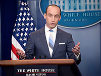 White House senior advisor for policy Stephen Miller conducts a press briefing on the Trump Administration's support of the Reforming American Immigration for a Strong Economy (RAISE) Act in the Brady Press Briefing Room of the White House in Washington, DC on Wednesday, August 2, 2017. Photo Credit: Ron Sachs/CNP/AdMedia