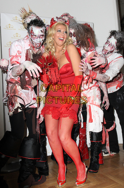 LIZ FULLER .Bloodlust Ball hosted by the Button Club at One Marylebone Road, London, England.  .October 25th 2008.full length red dress fishnet stockings devil zombies dress-up costume .CAP/JIL.©Jill Mayhew/Capital Pictures