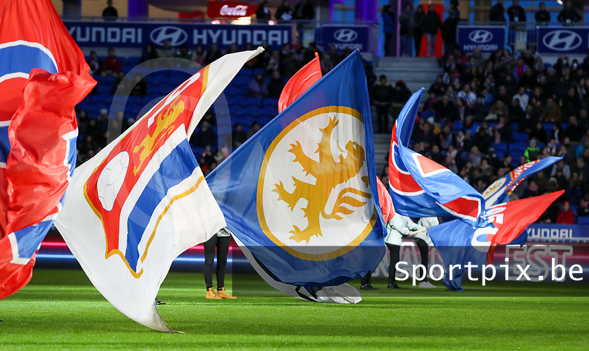 20191116 – LYON ,  FRANCE ; Flags are pictured before the women's soccer game between Olympique Lyonnais and PARIS SG on the 9th matchday of the French Women's first league , D1 of the 2019-2020 season , Saturday 16 th November 2019 at the Groupama stadium in Lyon , France . PHOTO SPORTPIX.BE | SEVIL OKTEM