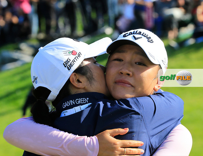 Lydia Ko (NZL) wins the Championship by 6 shots and makes history by becoming the youngest Major winner in golf at the end of Sunday's Final Round of the LPGA 2015 Evian Championship, held at the Evian Resort Golf Club, Evian les Bains, France. 13th September 2015.<br /> Picture Eoin Clarke   Golffile