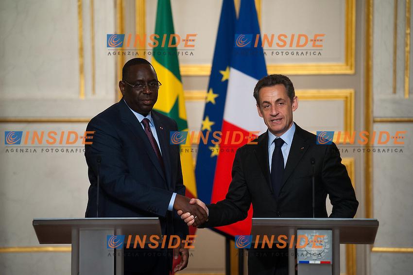 Il nuovo Presidente del Senegal Macky Sall e il Presidente francese Nicolas Sarkozy.Parigi 18/4/2012 Eliseo.Incontro tra il Presidente francese e il Presidente del Senegal.Foto Insidefoto / FLORENT DUPUY / Panoramic.ITALY ONLY