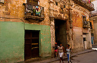 Havana capitol city of Cuba old buildings with laundry hanging oin porch in Old Havana