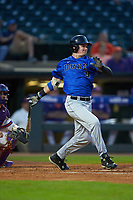 Griffin Conine (9) of the Duke Blue Devils follows through on his swing against the Clemson Tigers in Game Three of the 2017 ACC Baseball Championship at Louisville Slugger Field on May 23, 2017 in Louisville, Kentucky. The Blue Devils defeated the Tigers 6-3. (Brian Westerholt/Four Seam Images)
