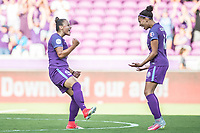 Orlando, FL - Sunday May 14, 2017: Camila, Kristen Edmonds celebrating goal during a regular season National Women's Soccer League (NWSL) match between the Orlando Pride and the North Carolina Courage at Orlando City Stadium.