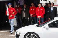 Real Madrid player Cristiano Ronaldo participates and receives new Audi during the presentation of Real Madrid's new cars made by Audi at the Jarama racetrack on November 8, 2012 in Madrid, Spain.(ALTERPHOTOS/Harry S. Stamper) .<br /> &copy;NortePhoto