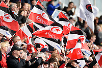 A general view of Saracens flags in the crowd. Aviva Premiership match, between Saracens and Wasps on October 8, 2017 at Allianz Park in London, England. Photo by: Patrick Khachfe / JMP