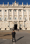 Police and soldiers in front of Palacio Real royal palace, Madrid, Spain