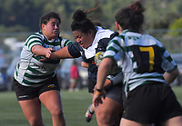Action from the Wellington women's rugby Rebecca Liua'ana Trophy match between Old Boys University and Petone at Te Whaea in Wellington, New Zealand on Saturday, 25 May 2019. Photo: Dave Lintott / lintottphoto.co.nz
