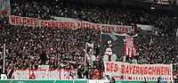 FUSSBALL   DFB POKAL   SAISON 2011/2012   VIERTELFINALE VfB Stuttgart - FC Bayern Muenchen                      08.02.2012 VfB Stuttgart Fans mit einem Banner Welches Schweinderl Bastian Schweinsteiger (FC Bayern Muenchen) haetten Sie den gern