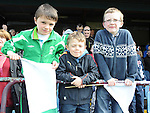 Duleek under 10 fans Jack McKenna, Cormac Lenihan and Christopher Boyle at the Drogheda and District schoolboys cup finals in Hunky Dorys park. Photo: Colin Bell/pressphotos.ie