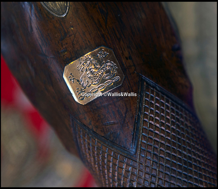BNPS.co.uk ()1202 558833)<br /> Pic: Wallis&Wallis/BNPS<br /> <br /> £14,000 - Lord Cardigan's blunderbuss pistol complete with family crest on the grip. <br /> <br /> An extraordinary collection of artefacts and momentoes from one of the most infamous days in British military history is being sold at Wallis&Wallis auctioneers in genteel Lewes, East Sussex.