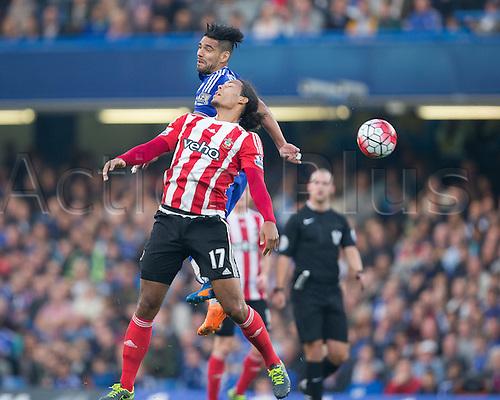 03.10.2015. London, England. Barclays Premier League. Chelsea versus Southampton. Chelsea's Radamel Falcao wins the header against Southampton's Virgil van Dijk.