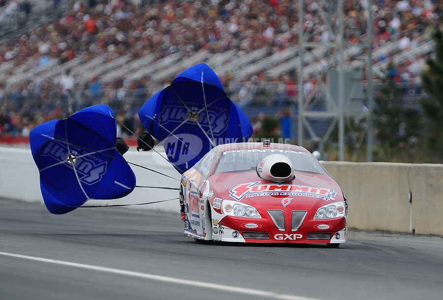 Mar. 10, 2012; Gainesville, FL, USA; NHRA pro stock driver Greg Anderson during qualifying for the Gatornationals at Auto Plus Raceway at Gainesville. Mandatory Credit: Mark J. Rebilas-