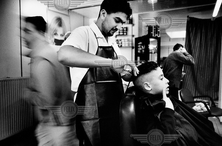 A hair dressing salon in Borgerhout, a district of Antwerp with a large immigrant population.