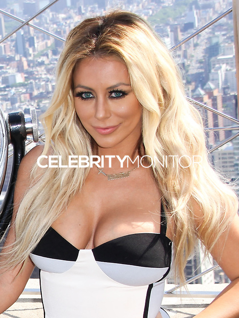 NEW YORK CITY, NY, USA - JUNE 02: Aubrey O'Day of music girl group Danity Kane visits the Empire State Building to celebrate the release of their new single 'Lemonade' on June 2, 2014 in New York City, New York, United States. (Photo by Jeffery Duran/Celebrity Monitor)