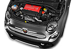 Car stock 2018 Abarth 595 Turismo 3 Door Hatchback engine high angle detail view