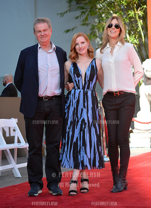 LOS ANGELES, CA. November 3, 2016: John Madden &amp; Jessica Chastain &amp; Kathryn Bigelow at hand and footprint ceremony for actress Jessica Chastain at the TCL Chinese Theatre, Hollywood.<br /> Picture: Paul Smith/Featureflash/SilverHub 0208 004 5359/ 07711 972644 Editors@silverhubmedia.com