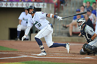 Cedar Rapids Kernels shortstop Royce Lewis (30) swings at pitch against the West Michigan Whitecaps at Veterans Memorial Stadium on May 5, 2018 in Cedar Rapids, Iowa.  (Dennis Hubbard/Four Seam Images)