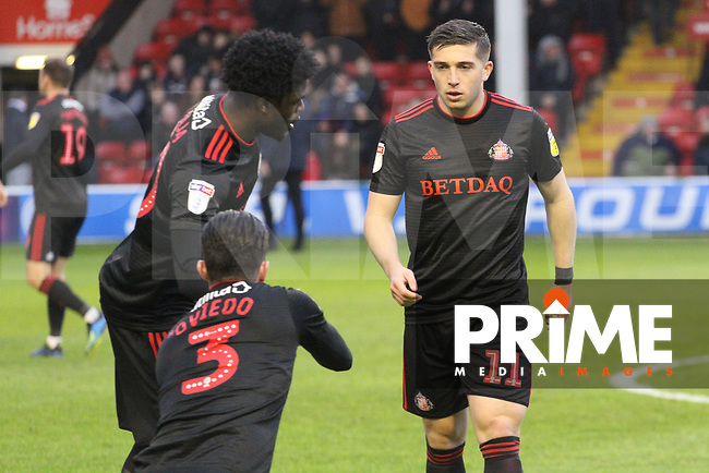 Josh Maja (Sunderland AFC), Bryan Oviedo (Sunderland AFC) and Lynden Gooch (Sunderland AFC) during the Sky Bet League 1 match between Walsall and Sunderland at the Banks's Stadium, Walsall, England on 24 November 2018. Photo by James  Gill / PRiME Media Images.