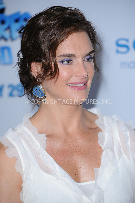 WWW.ACEPIXS.COM . . . . . .July 24, 2011...New York City....Brooke Shields attends the premiere of 'The Smurfs' at the Ziegfeld Theater on July 24, 2011 in New York City....Please byline: KRISTIN CALLAHAN - ACEPIXS.COM.. . . . . . ..Ace Pictures, Inc: ..tel: (212) 243 8787 or (646) 769 0430..e-mail: info@acepixs.com..web: http://www.acepixs.com .